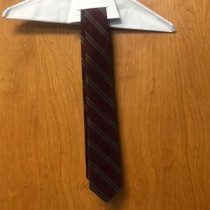 Burgundy, green, and tan striped tie